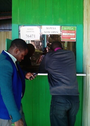 A typical scene: sending and receiving money with M-PESA