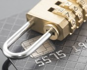 Padlock on top of credit card