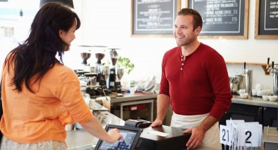 iPad POS on counter during signature transaction
