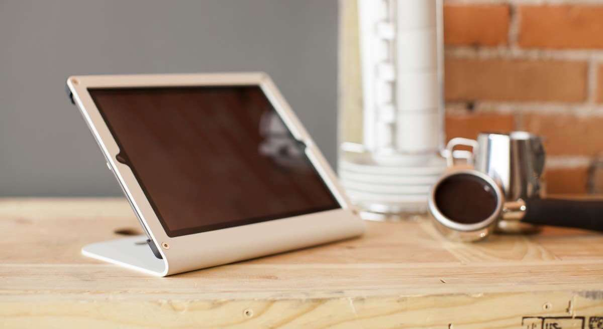 Heckler Windfall iPad stand on table