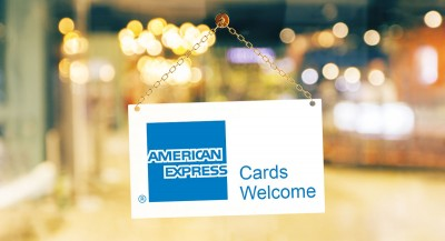 """Amex card welcome"" shop window sign"