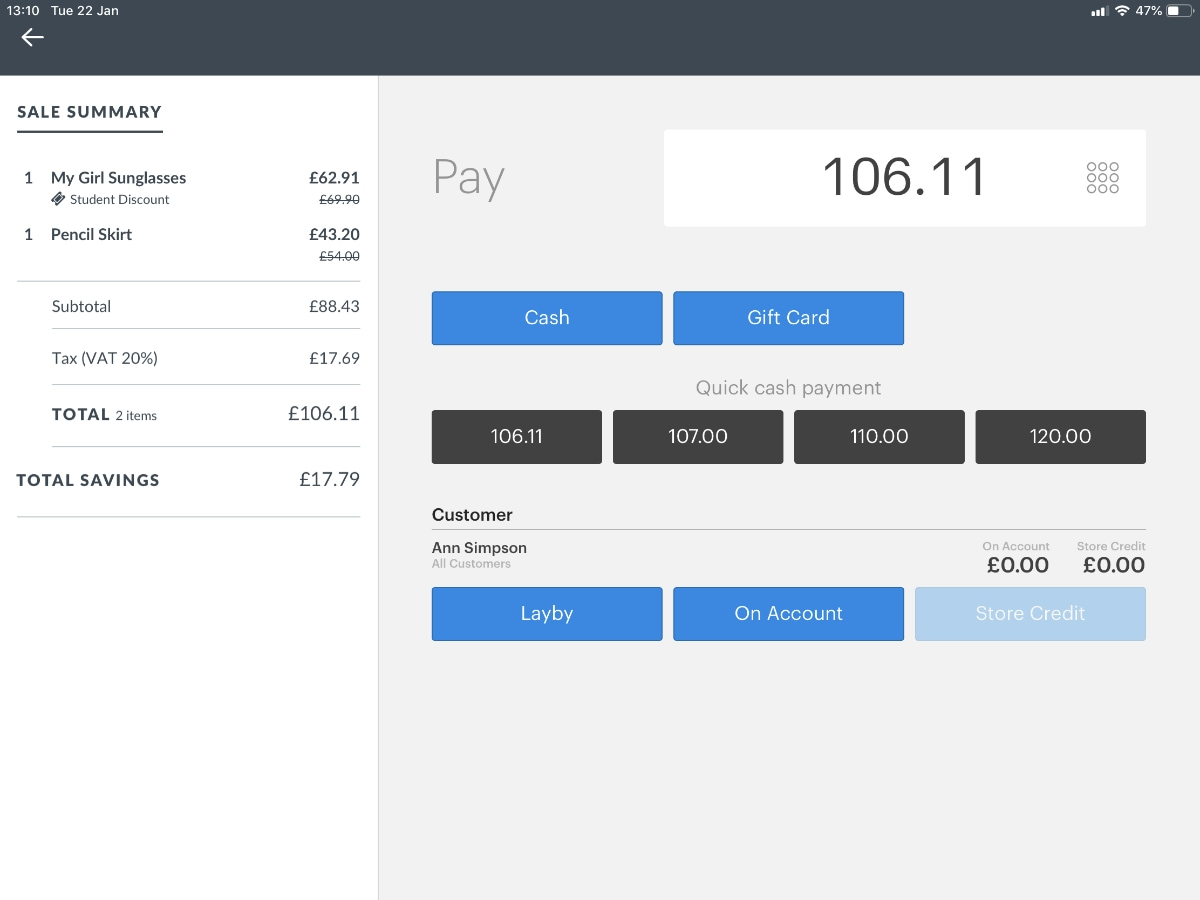 Vend payment interface on iPad