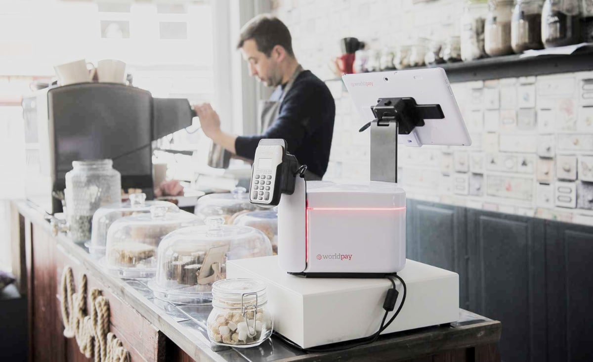Worldpay My Business Hub POS in a cafe
